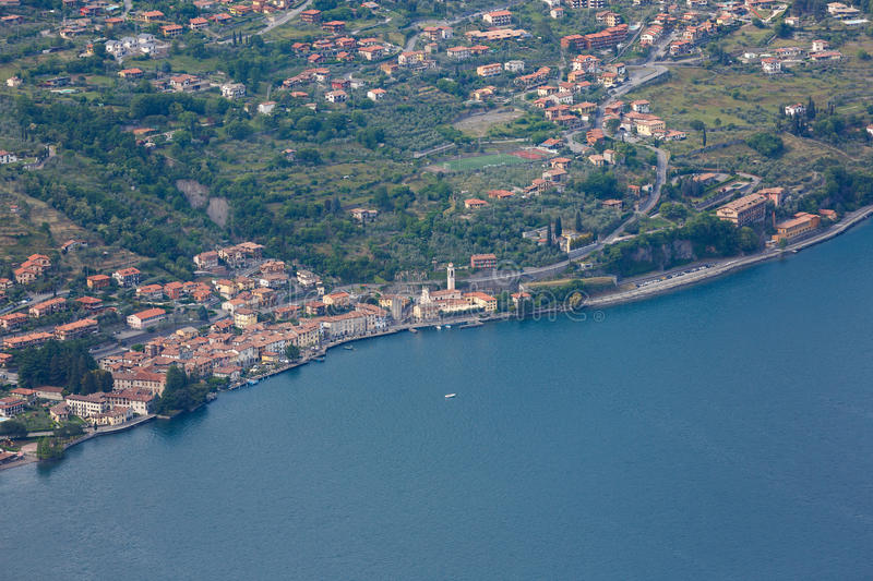 Lake Iseo, Italy. Landscape of Lake Iseo from aerial view, North Italy royalty free stock images