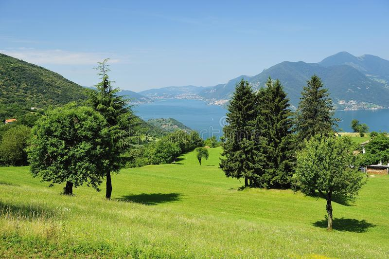Lake Iseo landscape. Scenic view of landscape around lake Iseo, Lombardy, Italy royalty free stock photography