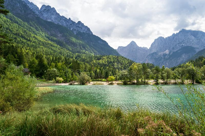 Lake Jasna is a stunning alpine lake near Kranjska Gora, in Triglav National Park, Slovenia royalty free stock photo
