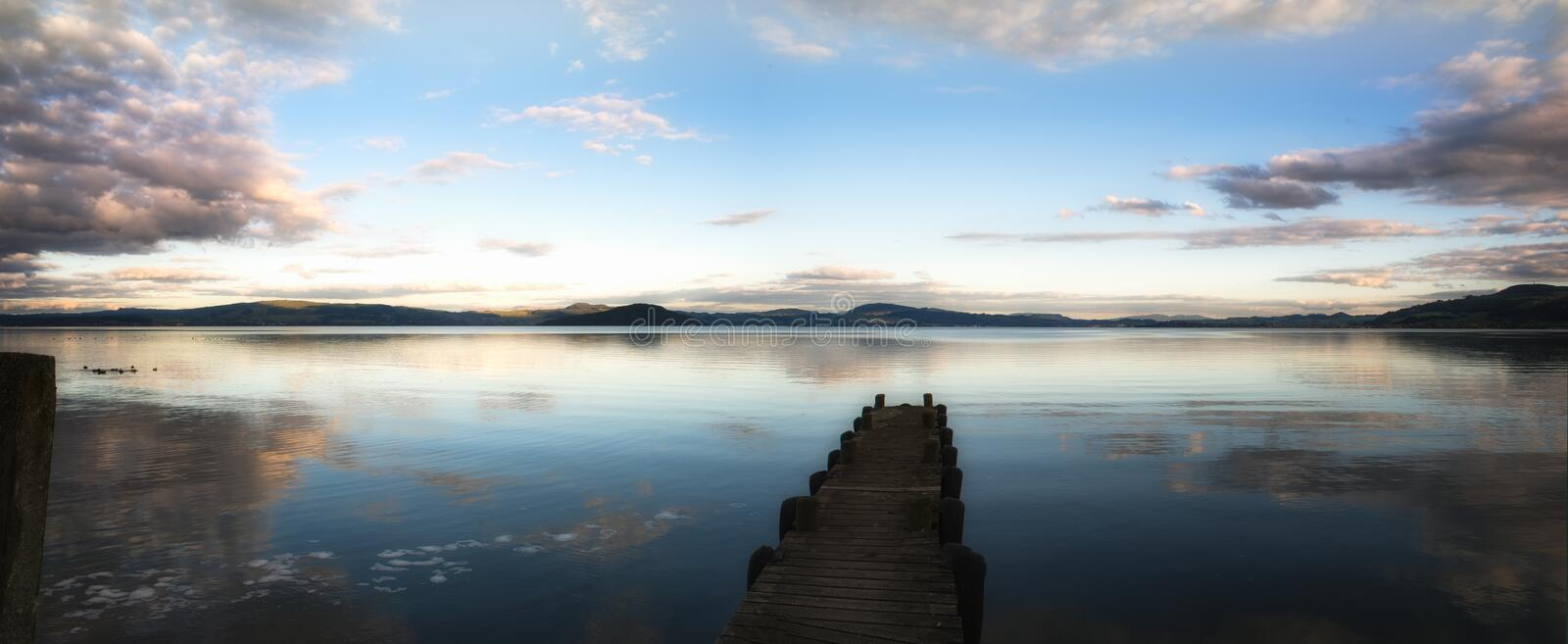 Lake Jetty in NZ stock photo