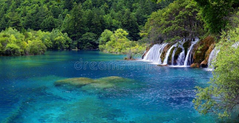 Lake in jiuzhaigou national park, Sichuan, china. View of colorful lake in jiuzhaigou national park, Sichuan, china royalty free stock photos