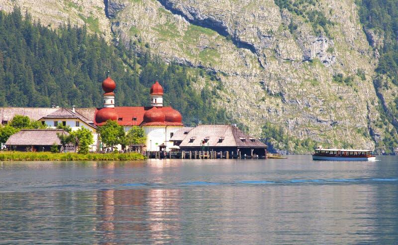 Download Lake Of Königsee With St Bartholoma Church Stock Photo - Image: 83702843