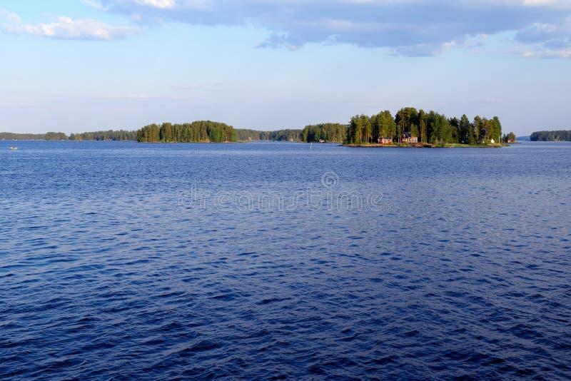 Lake Kallavesi near Kuopio, Finland. Horizontal image with sace for text stock photo