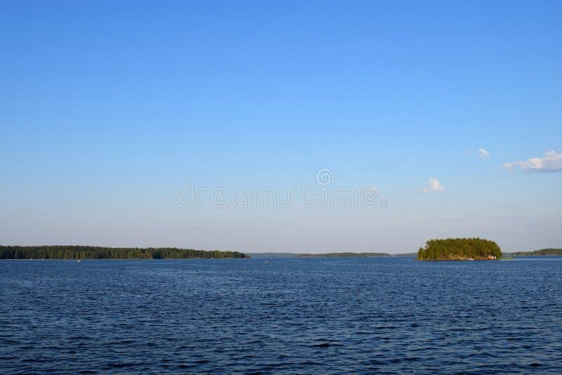 Lake Kallavesi near Kuopio, Finland. Space for text stock image