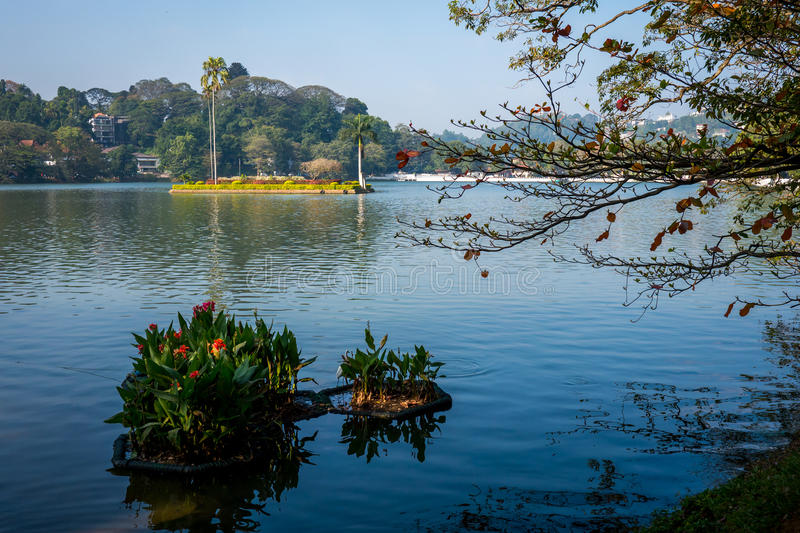 Lake in Kandy, Sri Lanka. This lake in Kandy, Sri Lanka is a famous landmark and tourist destination in Sri Lanka stock photo