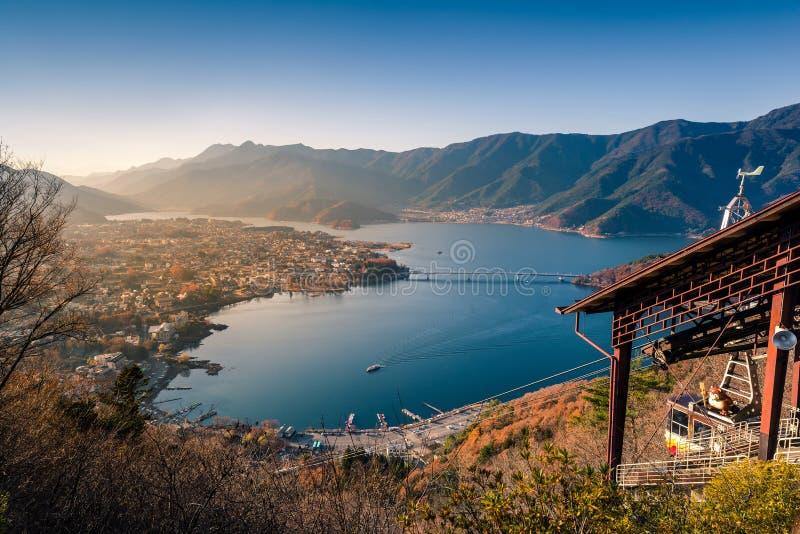 Lake kawaguchi and village viewed from Kawaguchiko Tenjoyama Par royalty free stock images