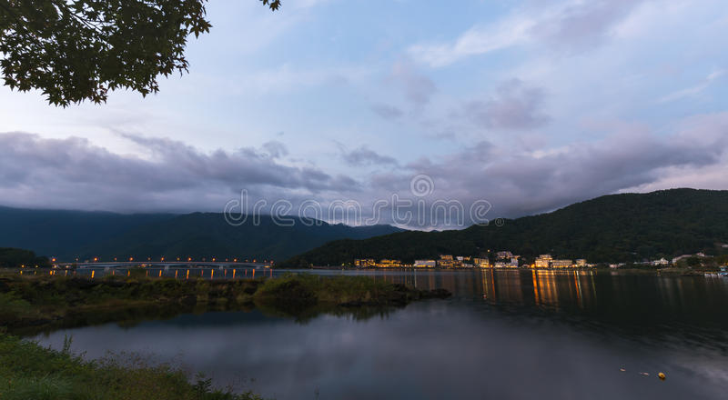 Lake Kawaguchiko with twilight sky on sunset time royalty free stock photography