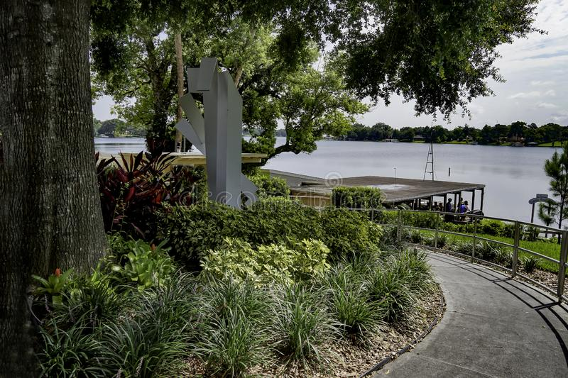 Lake Killarney located in Winter Paek Florida used for boating and recreation for tourist and residence. Mid afternoon at Lake Killarney located in the heart of stock photos