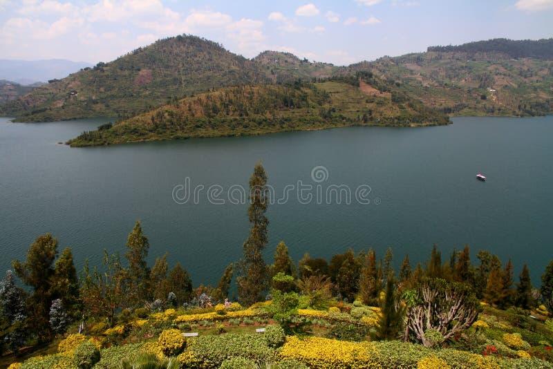Lake Kivu and Lush Garden stock photos