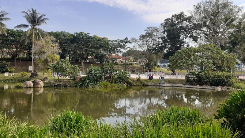 A lake in kluang town, johor malaysia. People come for leisure royalty free stock photo