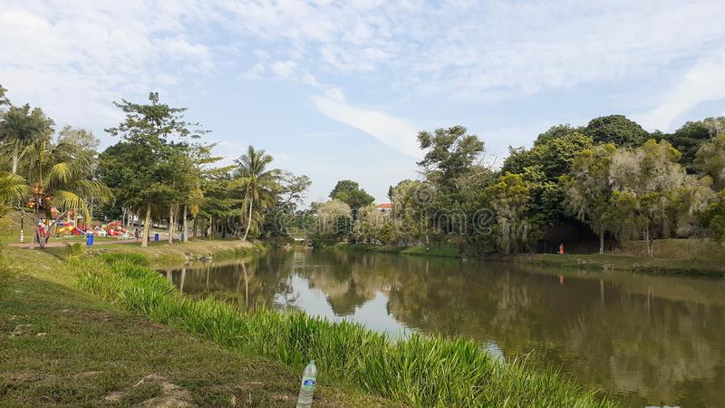 A lake in kluang town, johor malaysia. People come for leisure stock photo