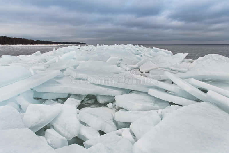 Lake Ladoga in winter. The ice blocks. royalty free stock images