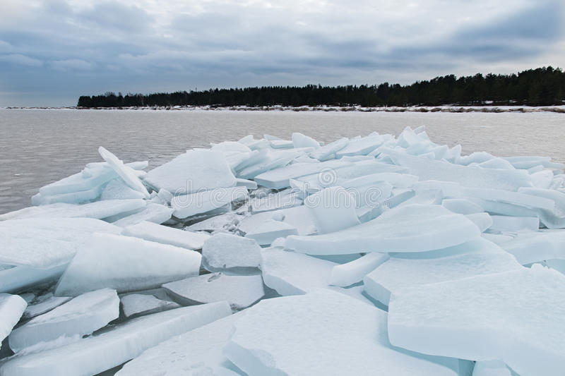Lake Ladoga in winter. The ice blocks. royalty free stock photo