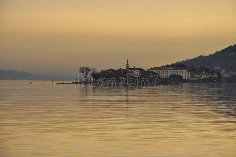 Stresa, Lake - lago - Maggiore, Italy. Borromeo islands at dusk stock image