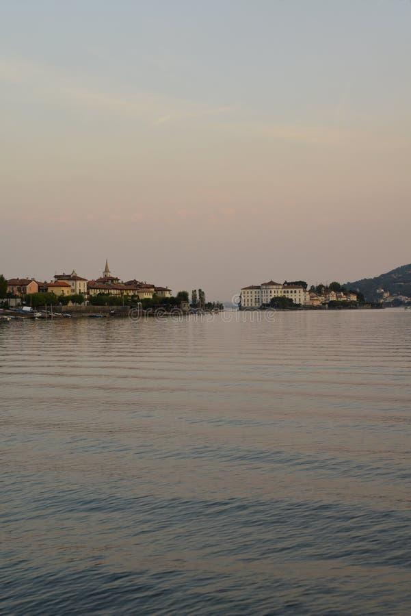 Lake - lago - Maggiore, Italy. Borromeo islands at dusk stock images