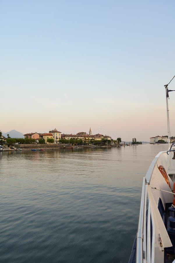 Lake - lago - Maggiore, Italy. Borromeo islands at dusk stock photos
