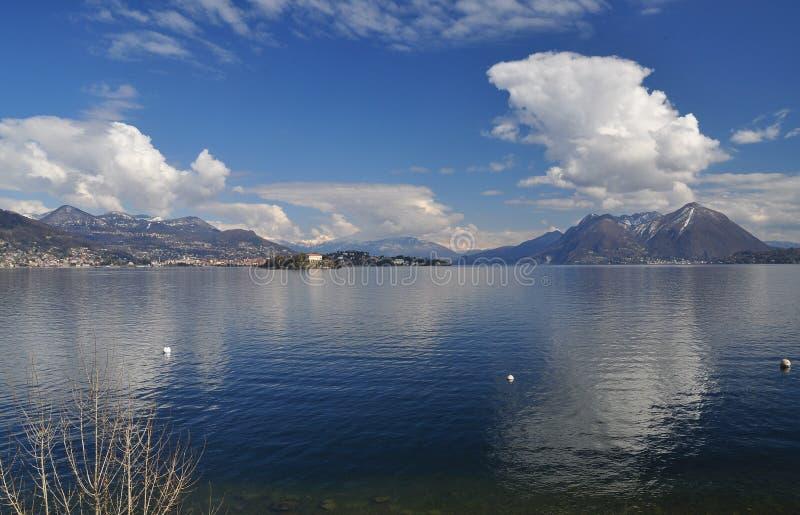 Lake (lago) Maggiore, Italy. Isola Madre winter landscape view stock image