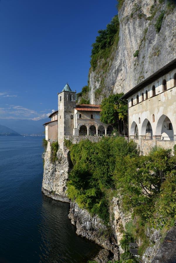 Lake - lago - Maggiore, Italy. Santa Caterina del Sasso monastery royalty free stock photo
