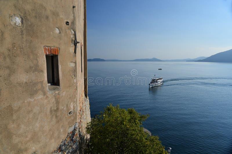 Lake - lago - Maggiore, Italy. Santa Caterina del Sasso monastery stock images