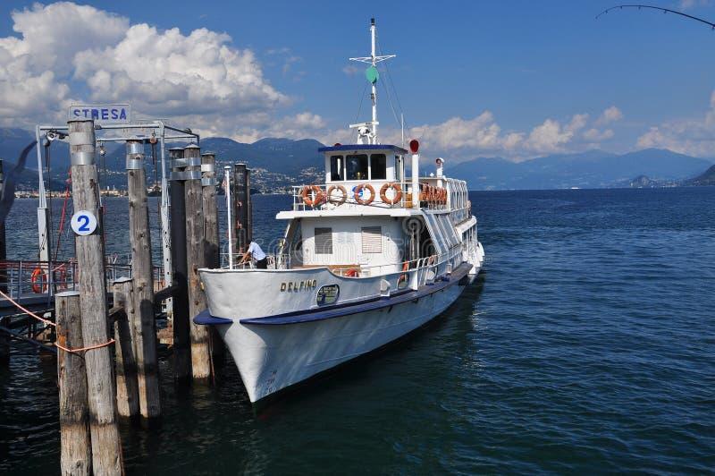 Lake (lago) Maggiore shipping company: ship Delfino royalty free stock photos