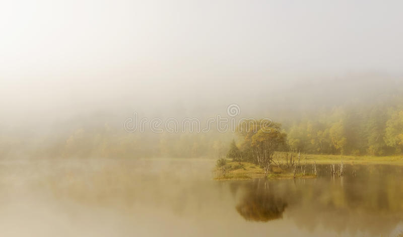lake landscape in fog royalty free stock photography