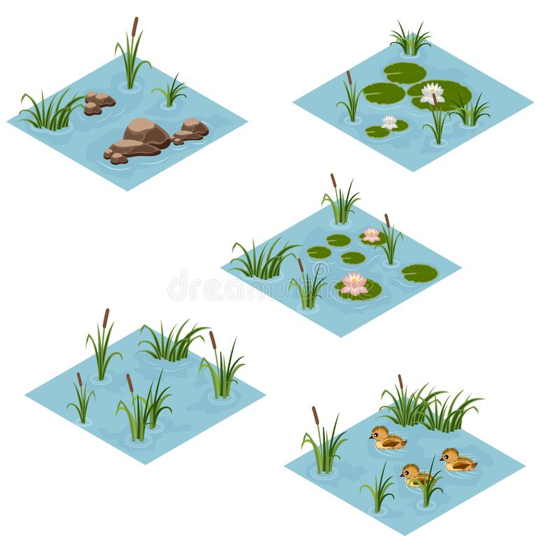 Lake landscape isometric tile set, Cartoon or game asset. To create forest or garden lake or pond scene. Isometric isolated tiles with water, grass, ducks royalty free illustration