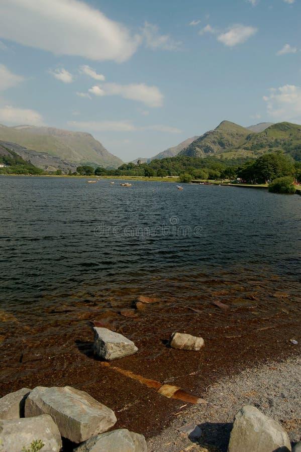 Lake and landscape,llanberis wales stock photo