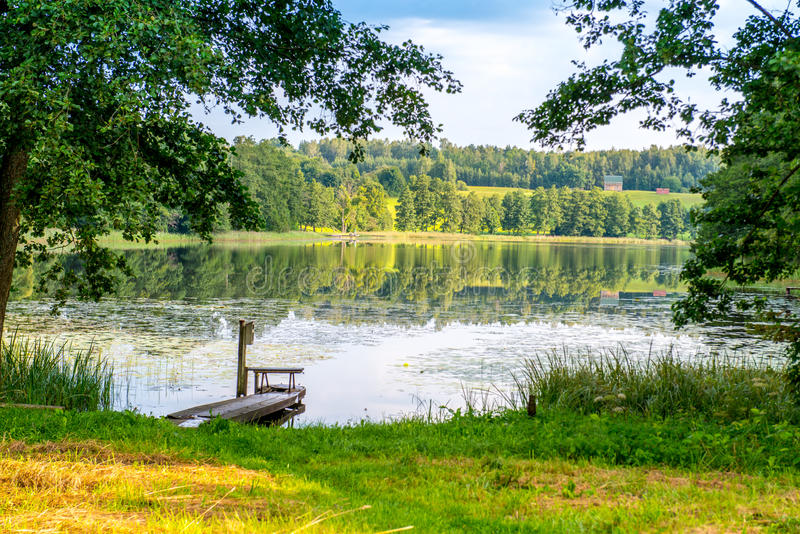 Lake landscape in summer stock photography
