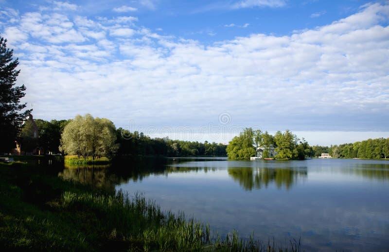 The lake landscapes of the Tsarskoye Selo. The lake landscapes in Tsarskoye Selo of St.Petersburg stock photo