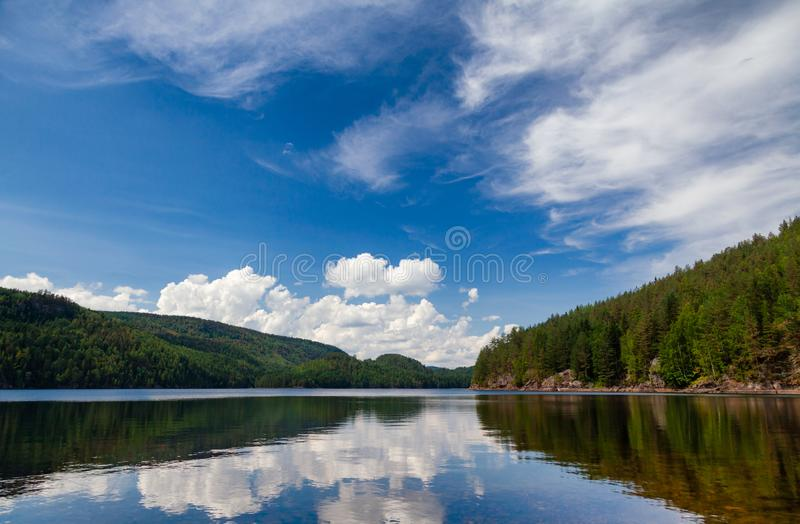Lake Langen Telemark Norway. Bright summer day at freshwater Lake Langen in Telemark County, Southern Norway stock photography