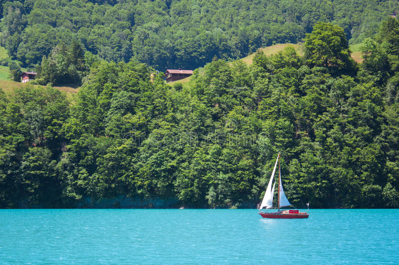 Lake lanscape with boat royalty free stock photography