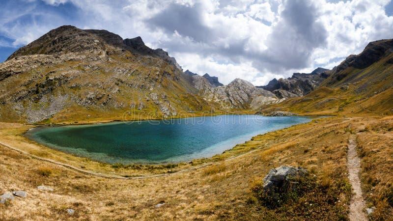 Lake of Lauzanier stock photography