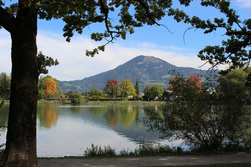 Lake Leopoldskron in the city of Salzburg in Austria, Europe. View of the mountain Gaisberg in the background stock photos