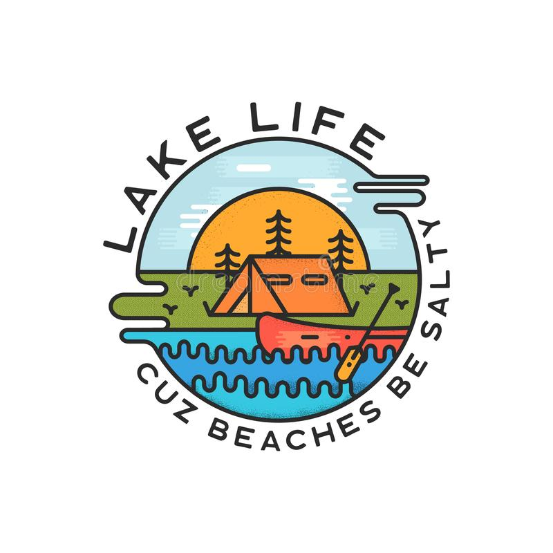 Lake Life Logo Design. Modern Liquid Dynamic Style. Travel adventure badge patch with quote - Cuz beaches be salty. Funny camping insignia label for print t vector illustration