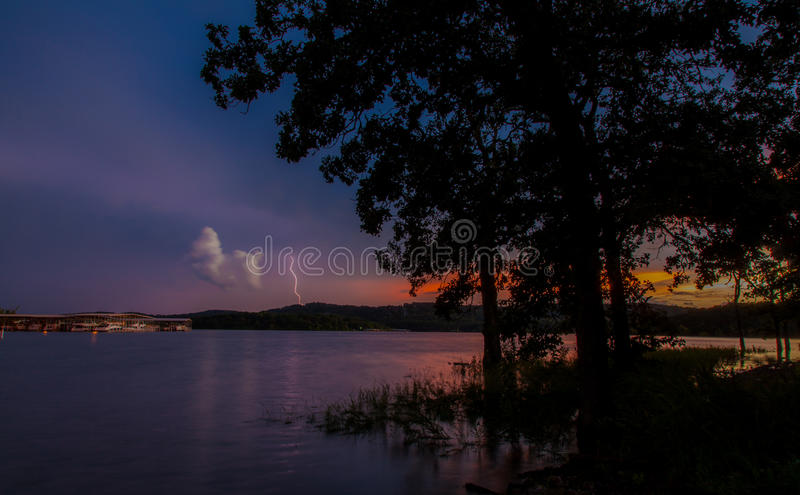 Lake Lightning at Sunset royalty free stock photo