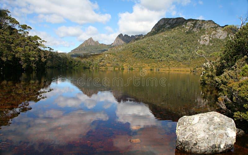 Lake lille. Cradle Mountain and Lake Lille, Tasmania, Australia royalty free stock photo