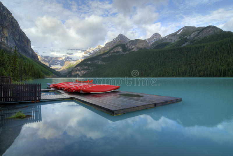 Download Lake Louise stock photo. Image of canoe, park, mountains - 21082286