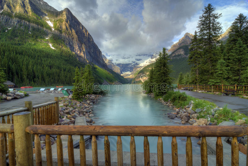Lake Louise. The incredible turquoise blue water of Lake Louise in Banff National Park in Alberta Canada. The amazing color is natural and is caused by light royalty free stock photos