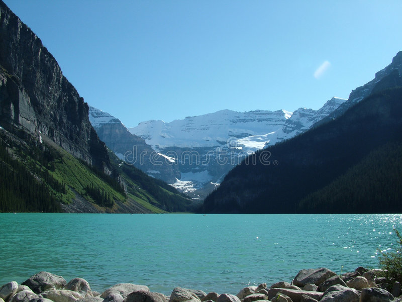 Lake Louise. With the Canadian Rockies in the background royalty free stock image