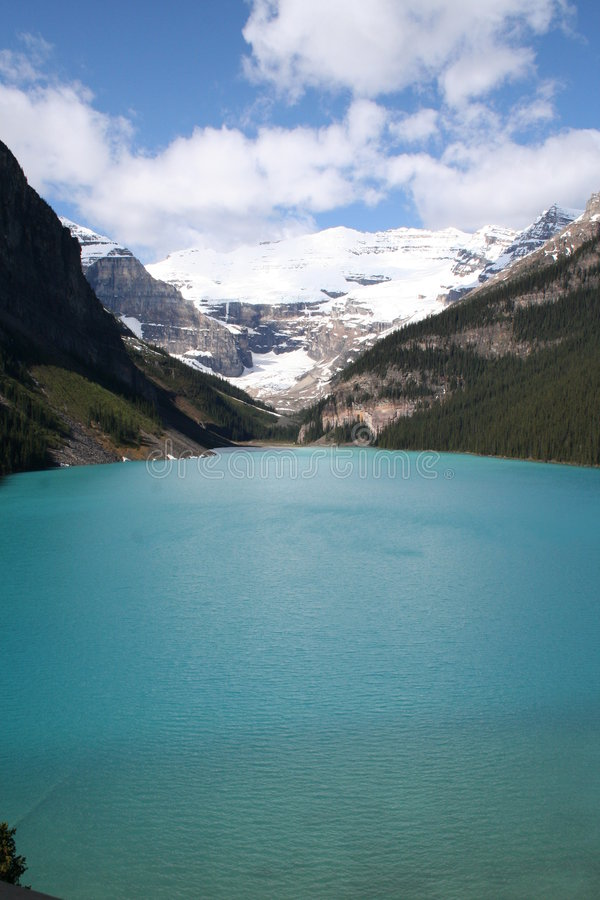 Lake Louise. Image is taken from the suite at the top of Chateau  Hotel stock photo