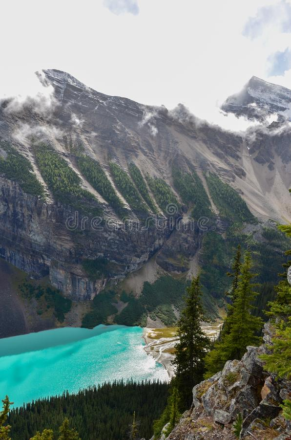Lake Louise from above 6. Forest, water and landscape of Lake Louise from above stock image