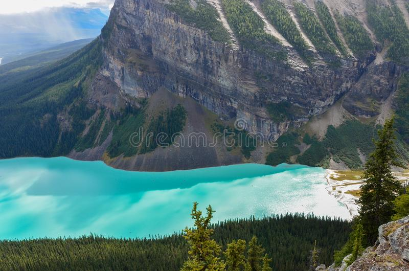 Lake Louise from above 7. Forest, water and landscape of Lake Louise from above royalty free stock image