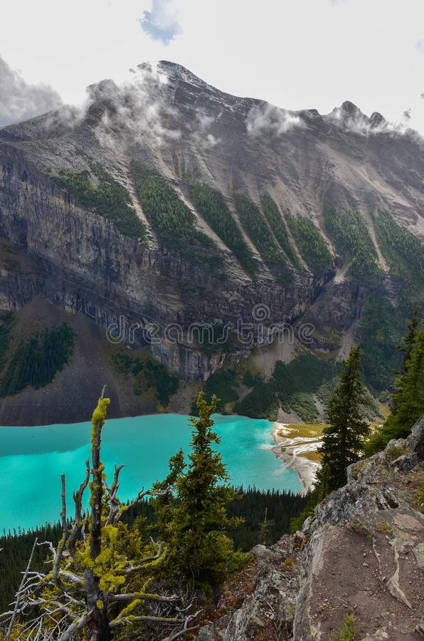 Lake Louise from above 10. Forest, water and landscape of Lake Louise from above royalty free stock photos