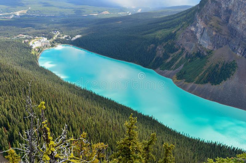 Lake Louise from above 5. Forest, water and landscape of Lake Louise from above stock photos