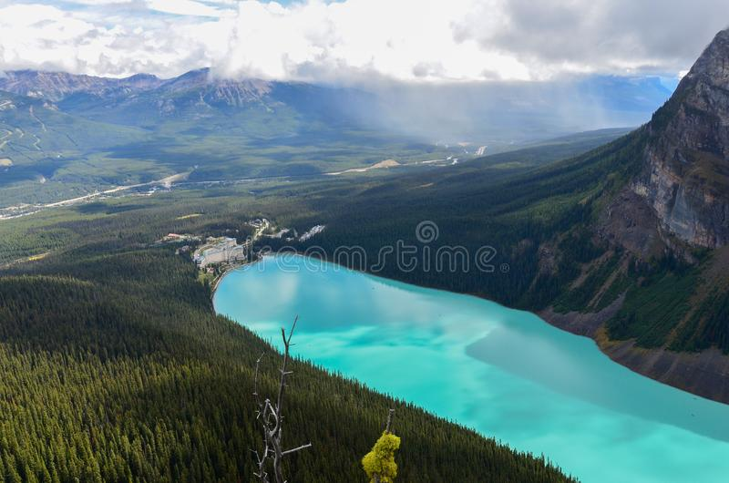 Lake Louise from above 8. Forest, water and landscape of Lake Louise from above stock photography