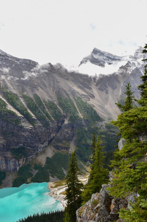 Lake Louise from above 9. Forest, water and landscape of Lake Louise from above royalty free stock images