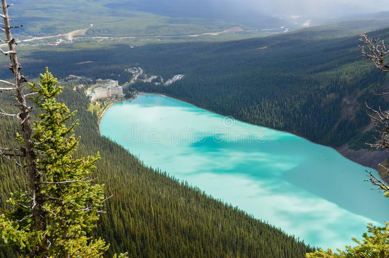 Lake Louise from above 3. Forest, water and landscape of Lake Louise from above royalty free stock photo