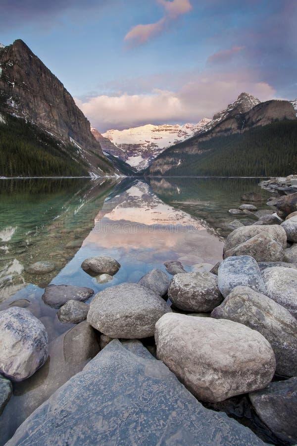 Lake Louise, Alberta. A Lake Louise sunrise, in banff national park royalty free stock image