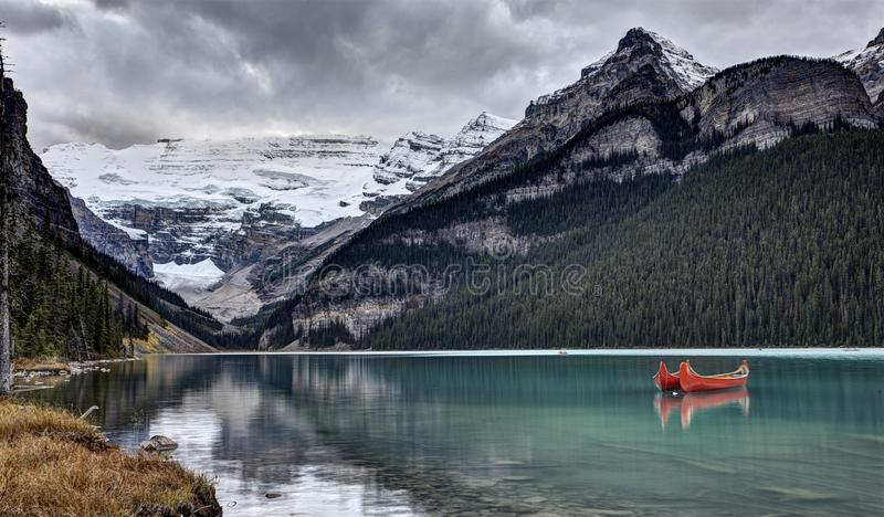 Lake Louise Alberta. Red Canoe Rental serene stock photos