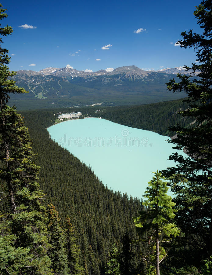 Lake Louise in Banff National Park. Lake Louise from Lake Agnes Trail, Lake Louise, Banff National Park, AB, Canada stock images